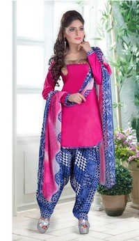 New pink cotton printed salwar kameez