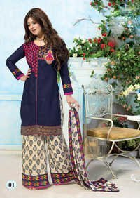 Buy blue cotton stright patiyala suit