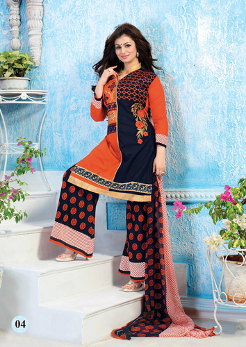 Stylish Orange Cotton Patiyala Suit with Chiffon Dupatta.