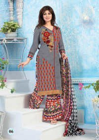 Affluent Grey Cotton Straight Patiyala Partywear Suit