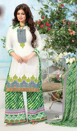 White Cotton Unstitched Thread Embroidery Work Patiyala Suit.