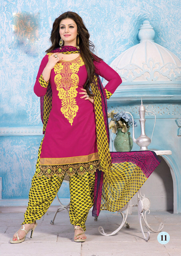 Exquisite Pink Cotton Unstitched Straight Patiyala Suit.