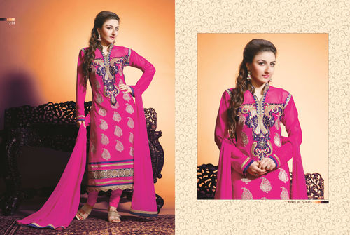 Buy Pink georgette embroidery unstitched salwar kameez