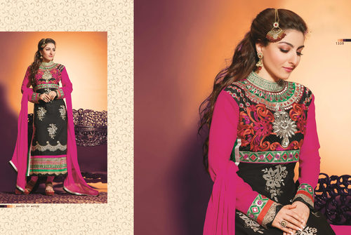 Modish new multicolor embroidery unstitched salwar kameez