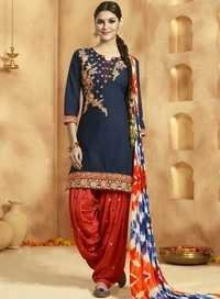 Blue Cotton Designer Patiala Suit