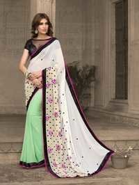Stylish Half n Half Georgette Saree