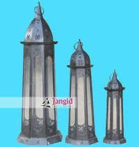 Indian Industrial Metal and Glass Lantern
