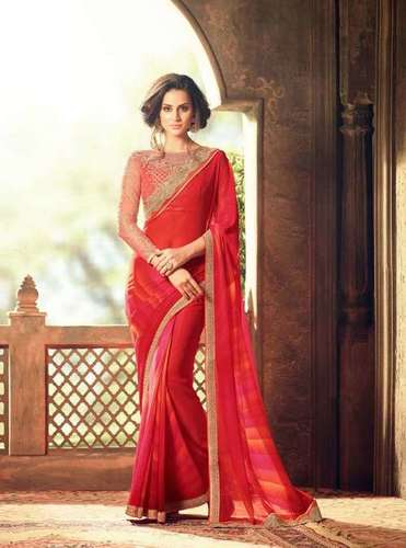 Multicolored Georgette Designer Saree