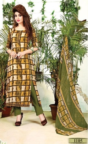 Green Glaze Cotton Attractive Salwar Suit