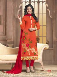 Orange Stylish Cotton Casual Wear Salwar Suit