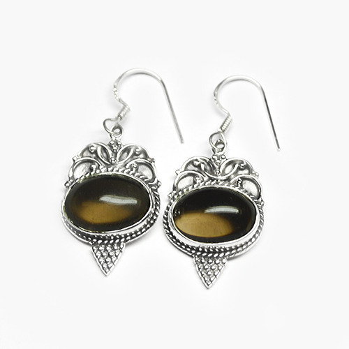 Smoky Quartz  Silver Gemstone Earring
