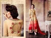 Creamy Red Embroidered Anarkali Suit