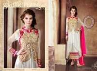 White Embroidered Anarkali Suit
