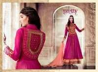 Pink Mirror Work Anarkali Suit
