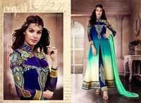 Blue And Aqua Embroidered Anarkali Long Suit