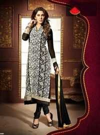 Black Straight Embroidered Straight Suit