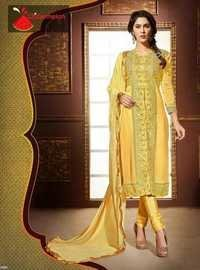 Yellow Watermelon Embroidered Straight Suit