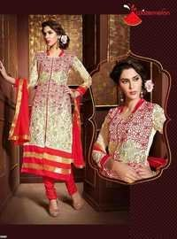Red Watermelon Embroidered Straight Suit
