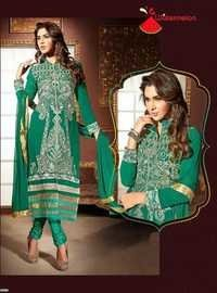 Green Watermelon Embroidered Straight Suit