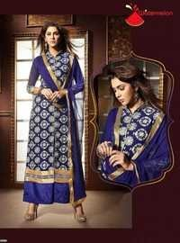 Blue Watermelon Embroidered Staright Suit
