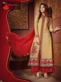 Beige Red Watermelon Embroiderd Straight Suit