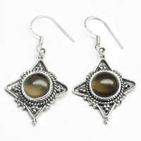 Smoky Quartz Gemstone Silver Earring