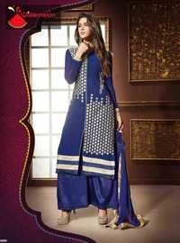 Navy Watermelon Straight Embroidered Suit