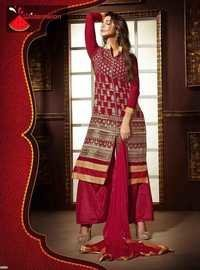 Maroon Watermelon Embroidered Staright Suit
