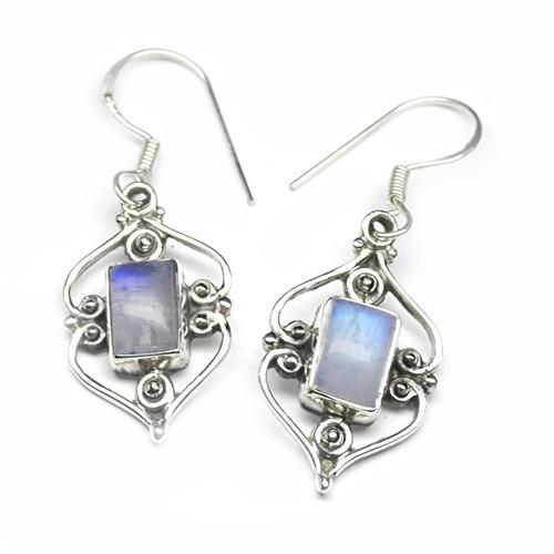 Rainbow Moonstone Gemstone Silver Earring