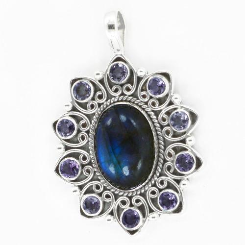 Labradorite & Amethyst Gemstone pendant