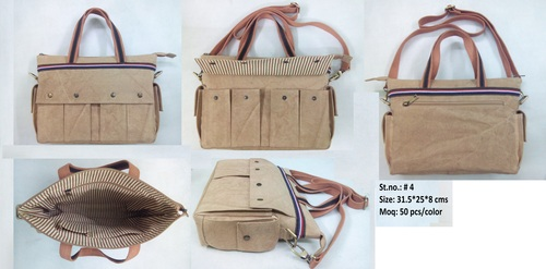 Brown Canvas Office Bag