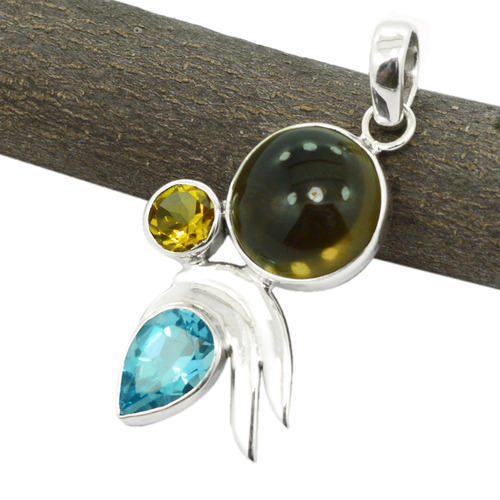 Smoky Quartz & Blue Topaz Gemstone Silver Pendant
