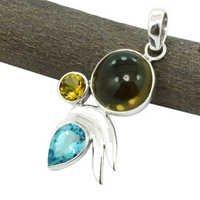 Smoky Quartz & Blue Topaz Gemstone Silver Pendant