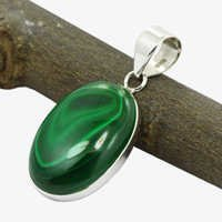 Malachite Gemstone Silver Pendant