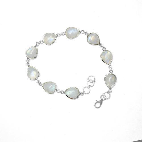 Rainbow Moonstone Gemstone Silver Bracelete