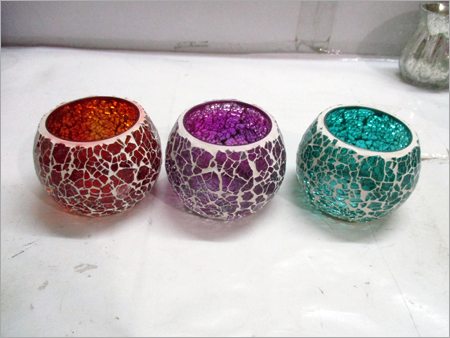 Crackle Glass T Light Candle Holder