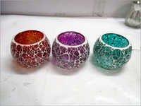 Crackle Glass T Light Candle Holder