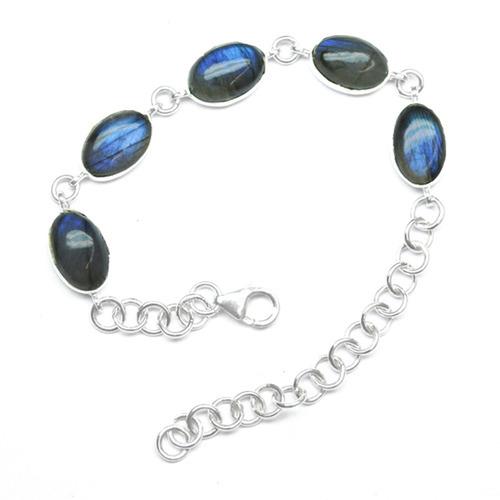 Labradorite Gemstone Silver Bracelete