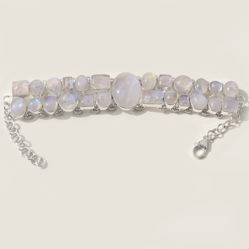 Moonstone Gemstone Silver Bracelete