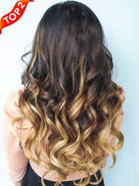 Ombre machine wefts extensions