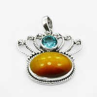 Tiger Eye & Blue Topaz Gemstone Pendant
