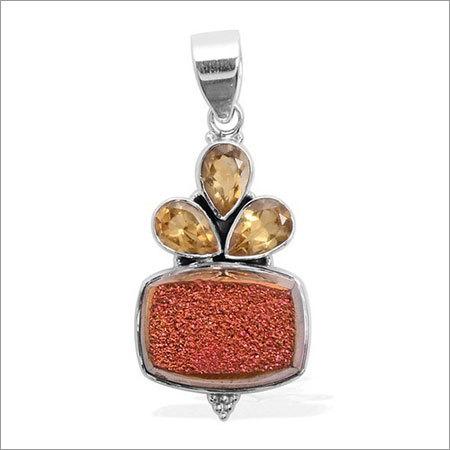 Druzy & Citrine Gemstone Pendant