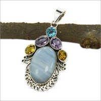 Larimar & Multi Gemstone Silver Pendant
