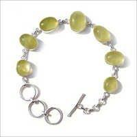 Prehnite Gemstone Silver Bracelete