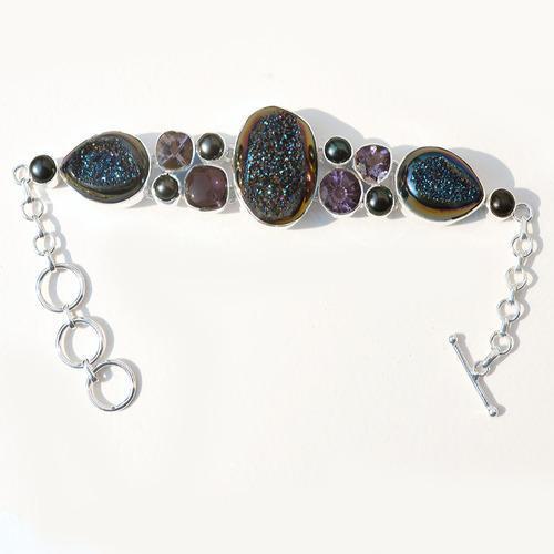 Druzy & Multi Gemstone Silver Pendant