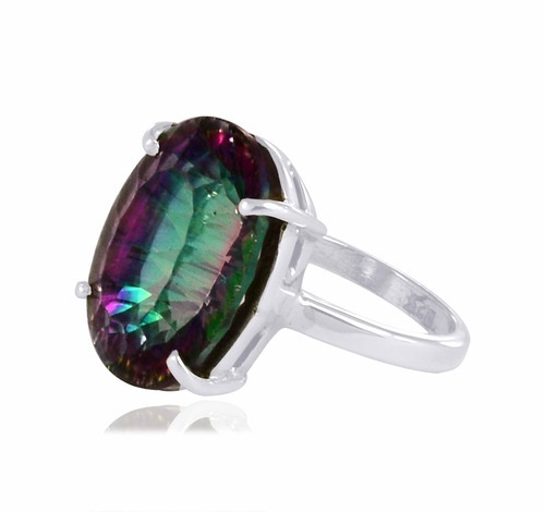 Mystic Topaz Gemstone Silver Ring