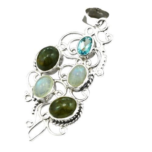 Multi Gemstone Silver Pendant