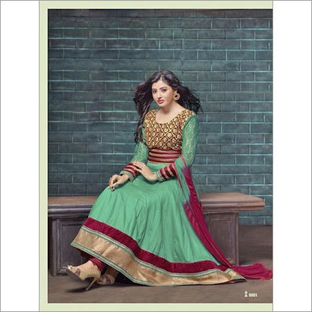 Buy green cotton anarkali salwar kameez