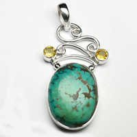 Turquoise & Citrine Gemstone Pendant