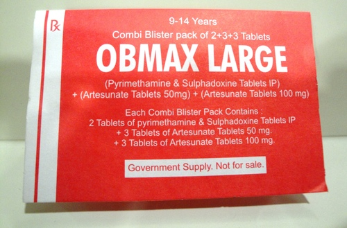 OBMAX LARGE (SULPHADOXINE & PYRIMETHAMINE TABLETS IP) + (ARTESUNATE TABLETS)